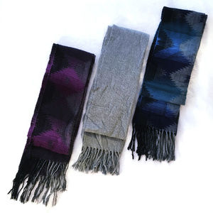 Set of 3 Scarves - Purple Grey and Blue Aztec